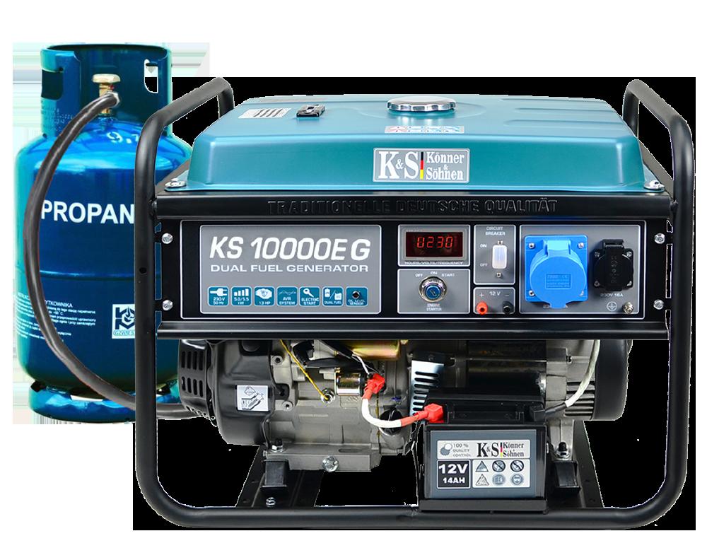 VORVERKAUF!!! K&S Gas- und Benzin-Stromaggregat 8.000 Watt KS10000EG Dual Fuel